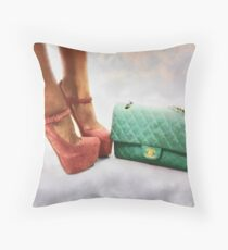 Vintage Chic Pink Stiletto Heels and Handbag Throw Pillow