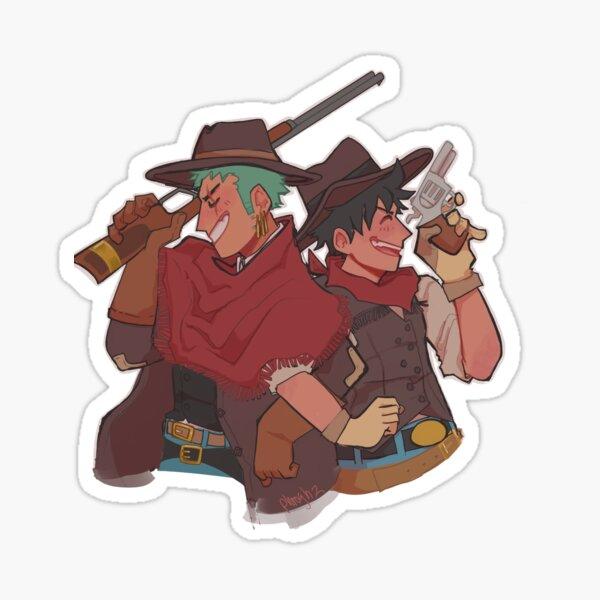 cowboy luffy n zoro Sticker