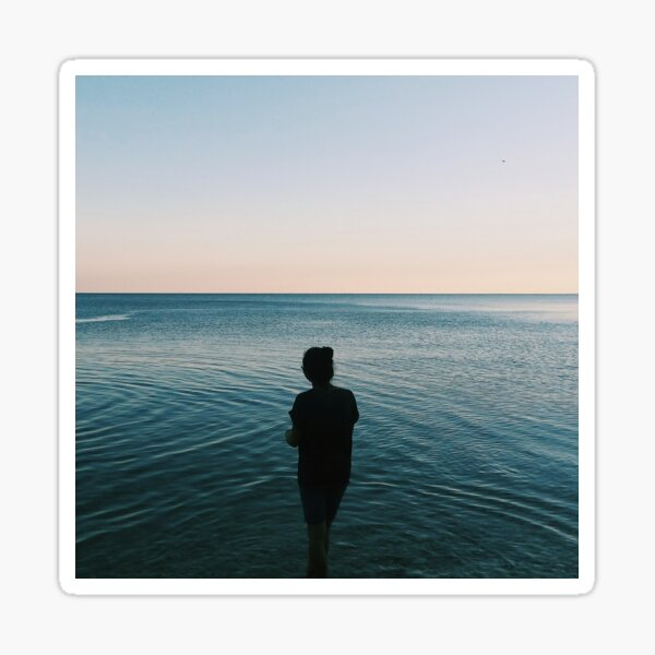 Alone In A Serene Sea Sticker