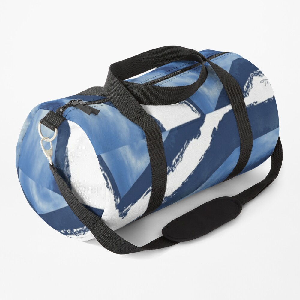 Blue and white pattern digital from photograph Duffle Bag