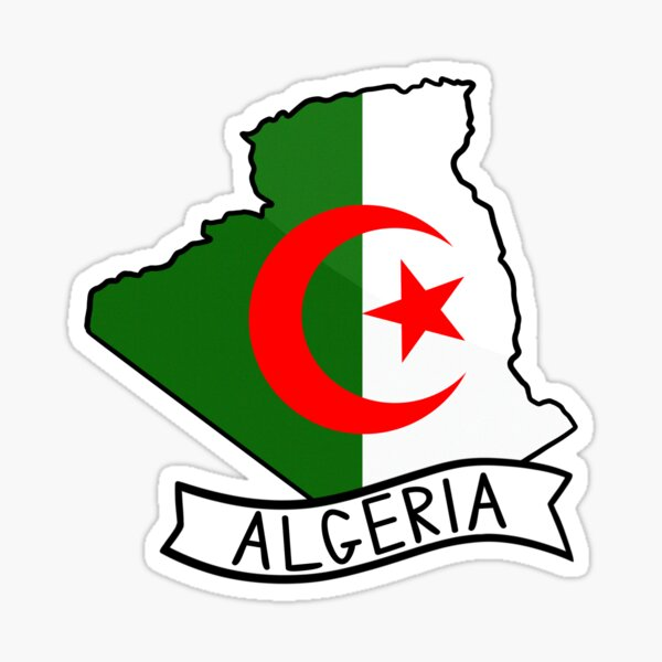 Algeria Glag Map Sticker Sticker
