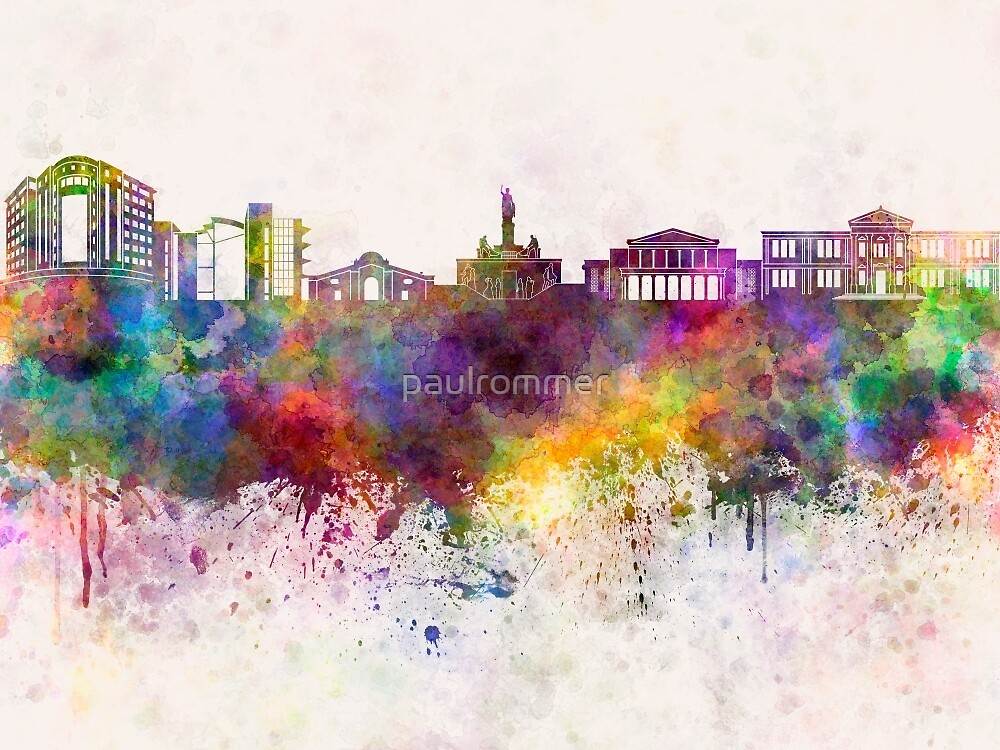 Nicosia skyline in watercolor background by paulrommer