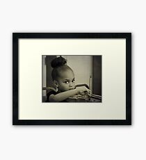 The little princess plays the violin Framed Print