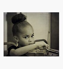 The little princess plays the violin Photographic Print
