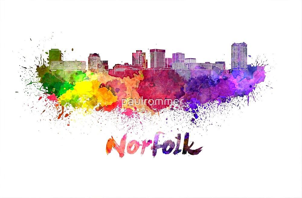 Norfolk skyline in watercolor by paulrommer