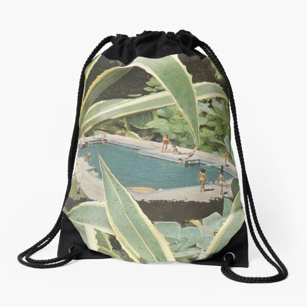 Swimming pool fun Drawstring Bag