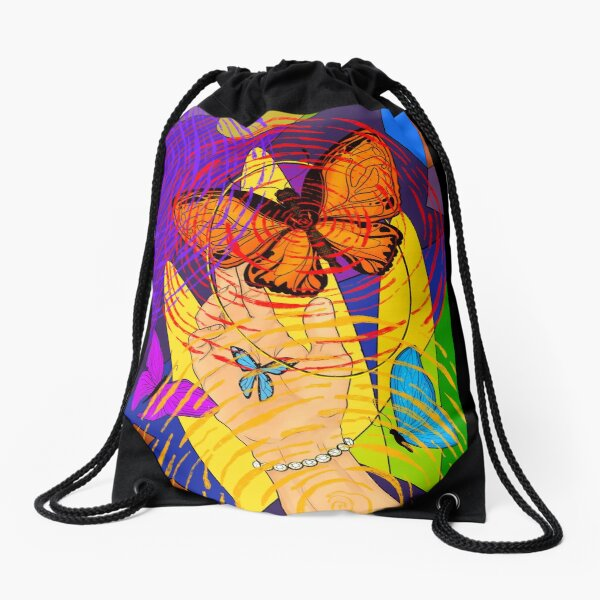 Butterfly colorful swirl  Drawstring Bag