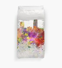 Omaha skyline in watercolor background Duvet Cover