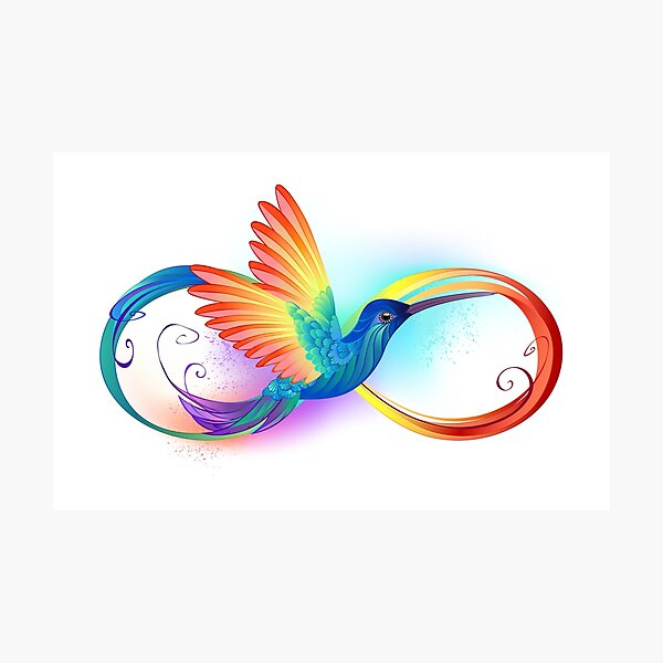 Rainbow Hummingbird with Infinity Photographic Print