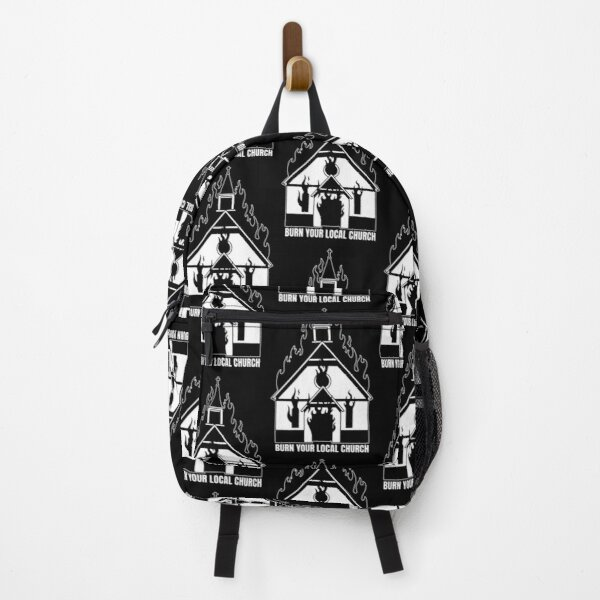 Burn your local church - Satanic burning church Backpack