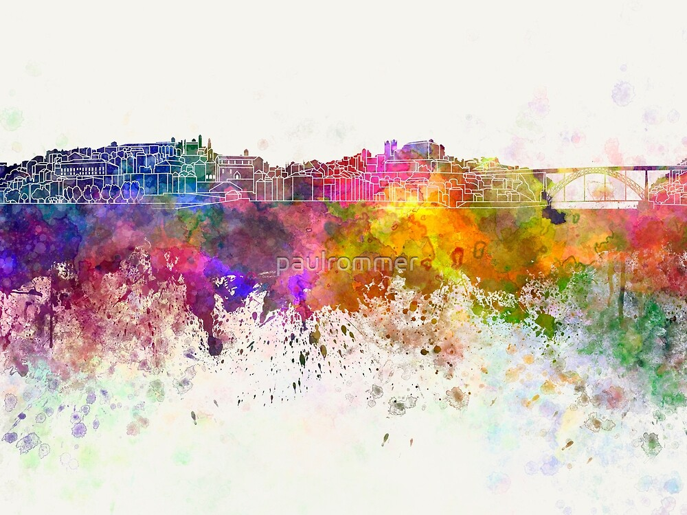 Porto skyline in watercolor background by paulrommer