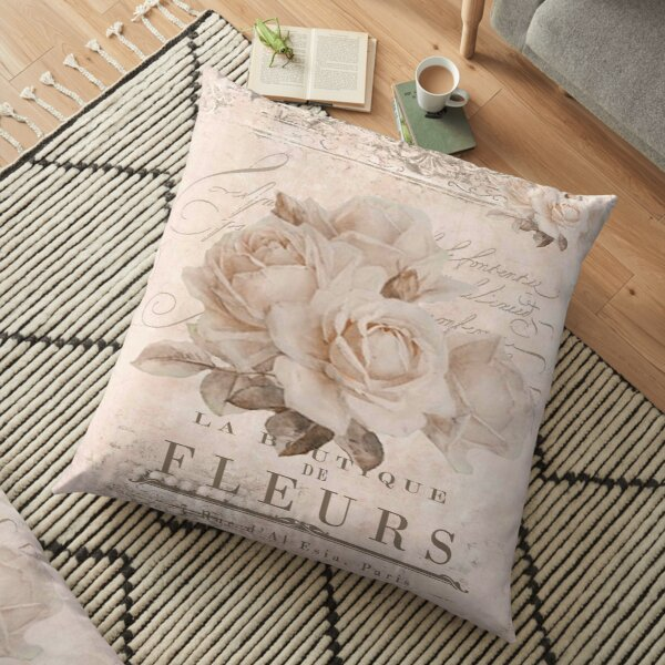 french vintage roses Floor Pillow