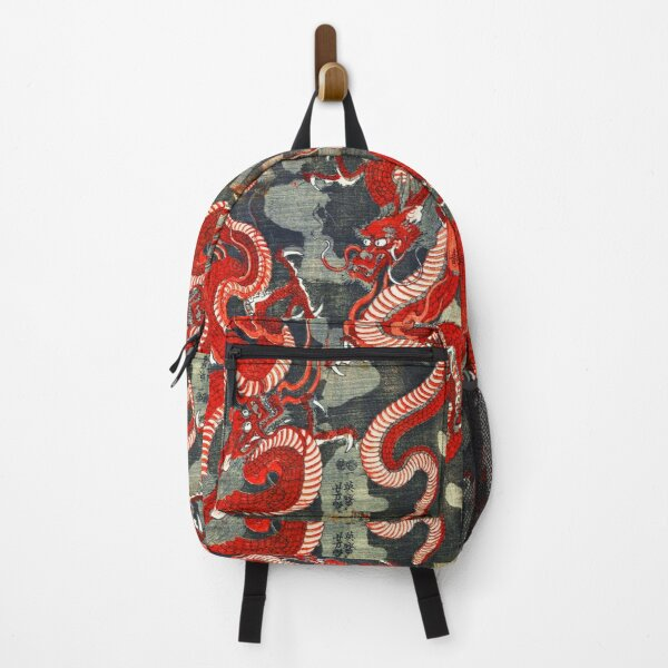 TWO DRAGONS JAPANESE WOODCUT IN RED BLACK WHITE Backpack