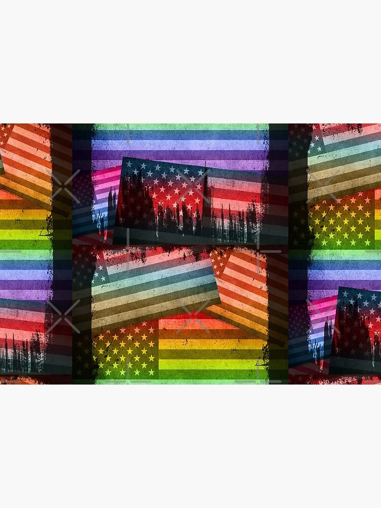 American Rainbow Diversity Flag (Distressed Grunge Pop Art) by SassyClassyMe