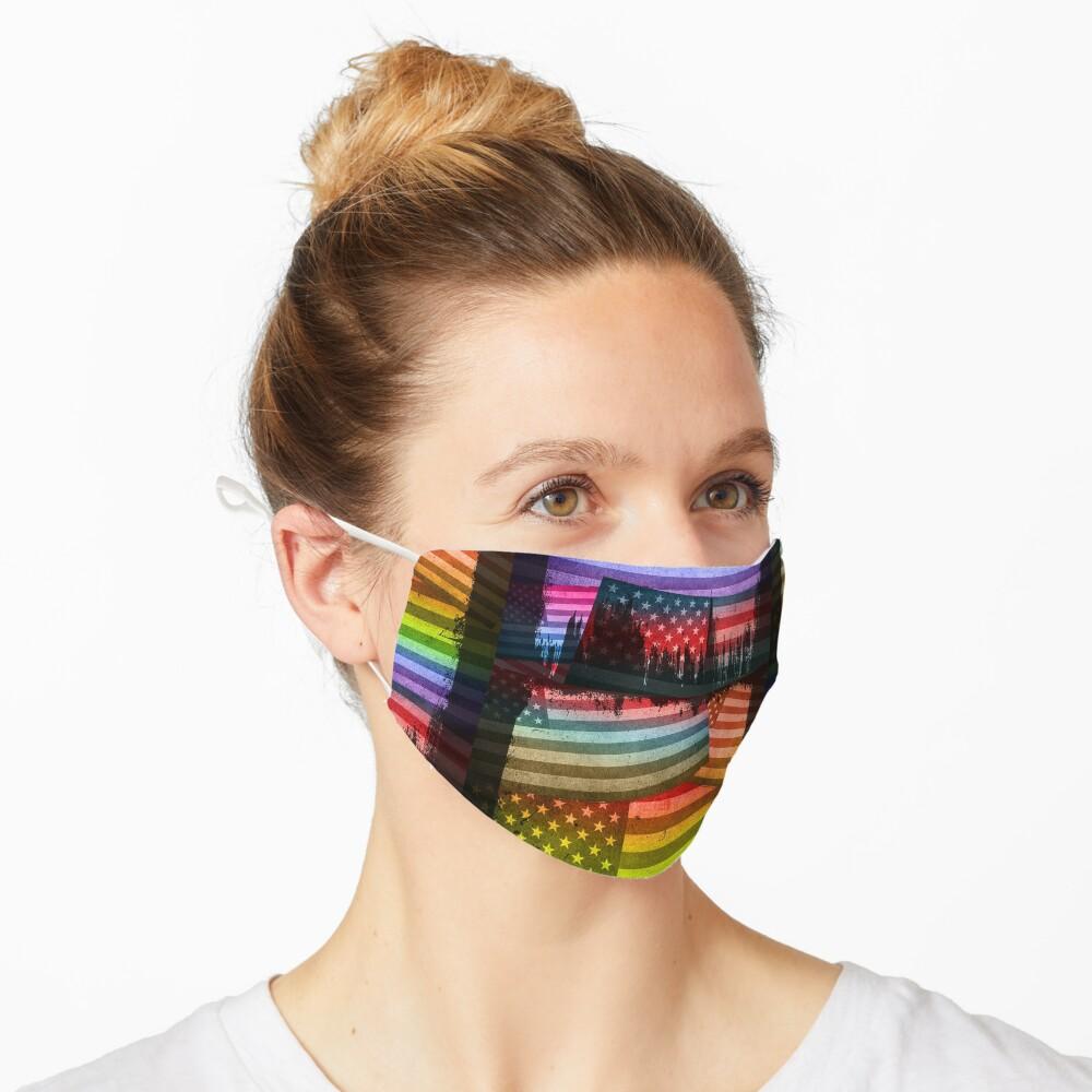 American Rainbow Diversity Flag (Distressed Grunge Pop Art) Mask