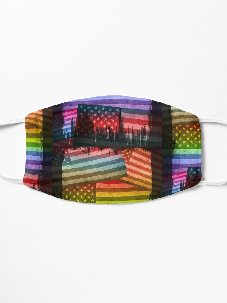 Alternate view of American Rainbow Diversity Flag (Distressed Grunge Pop Art) Mask