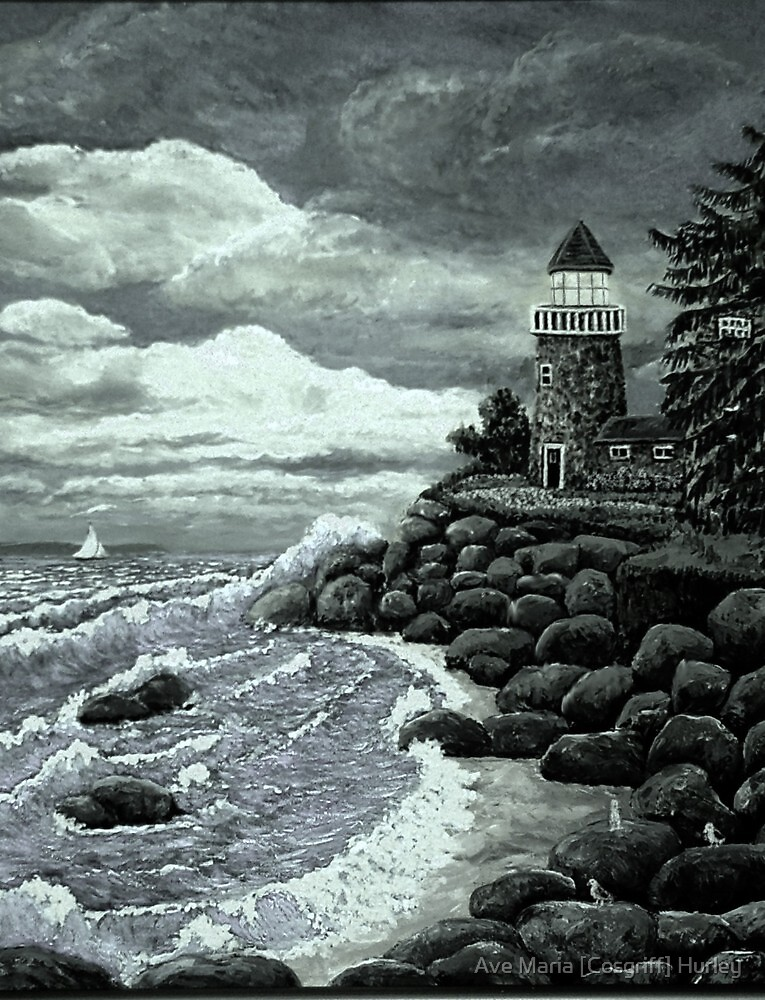 Madeline's Lighthouse [B&W] Ave Hurley from ArtRAve by Ave Maria [Cosgriff] Hurley