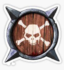 Spiked Shield Skull Crossbones Logo AAARG! Sticker