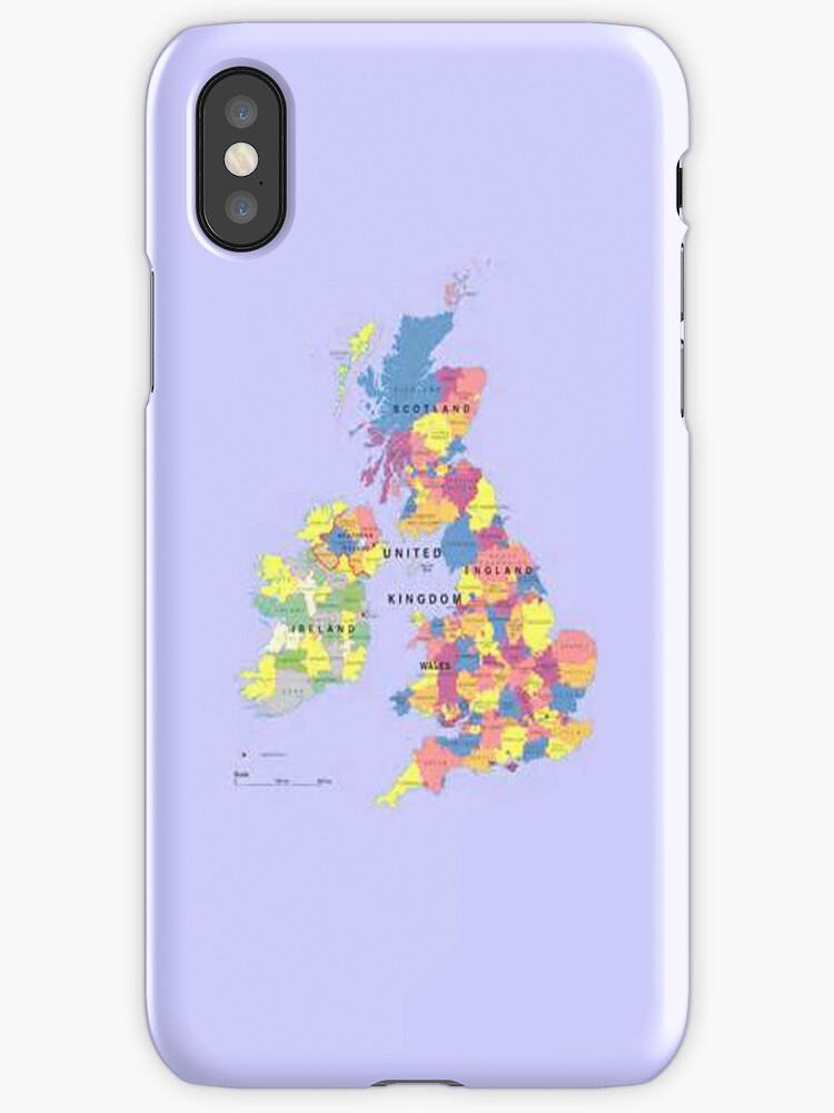Map of the United Kingdom iPhone Case by Catherine Hamilton-Veal  ©