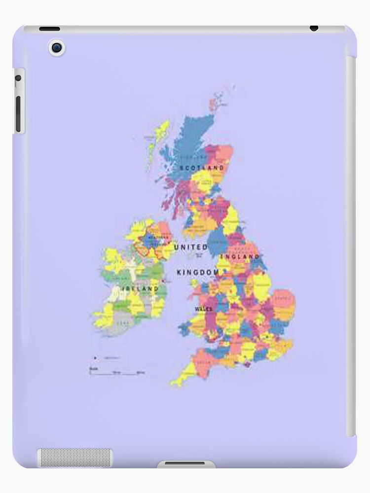 Map of the United Kingdom iPad Case by Catherine Hamilton-Veal  ©