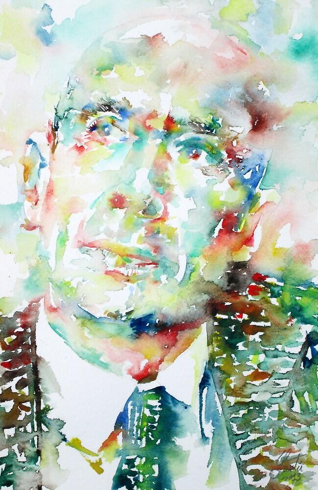 E. E. CUMMINGS - watercolor portrait by lautir