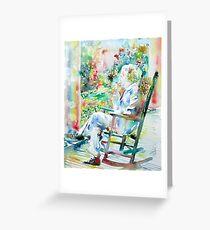 MARK TWAIN sitting and smoking a CIGAR - watercolor portrait Greeting Card