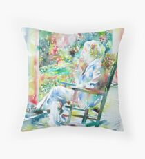 MARK TWAIN sitting and smoking a CIGAR - watercolor portrait Throw Pillow