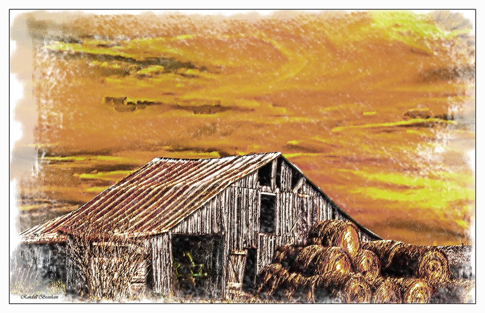 Juxtaposition An Old Barn With New Round Bales  by Randy Branham