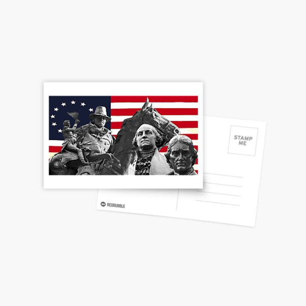Statues and Flag Postcard