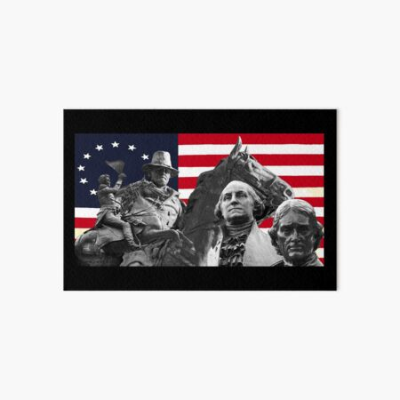 Statues and Flag Art Board Print