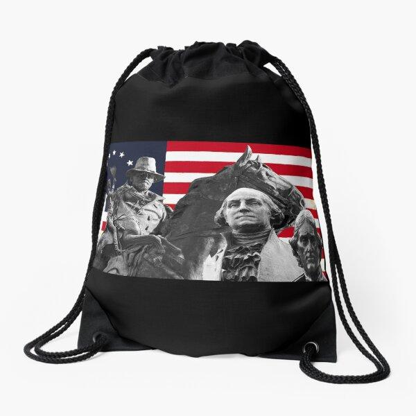 Statues and Flag Drawstring Bag