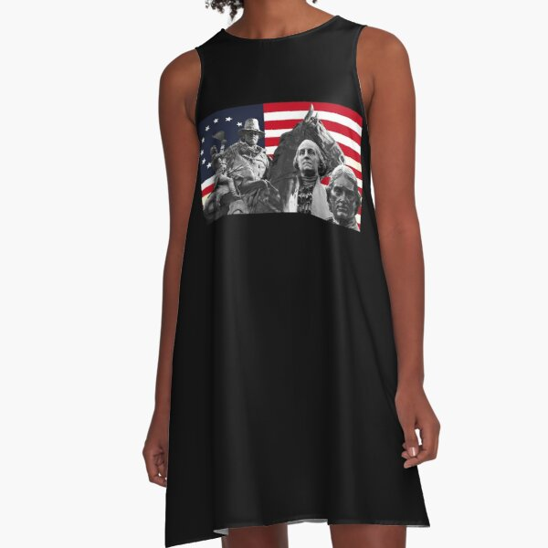 Statues and Flag A-Line Dress