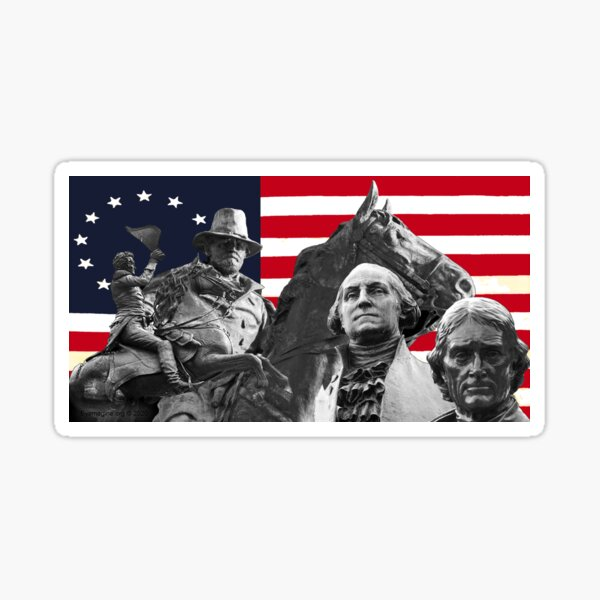 Statues and Flag Sticker