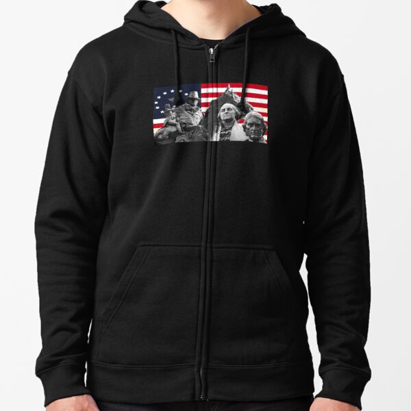Statues and Flag Zipped Hoodie