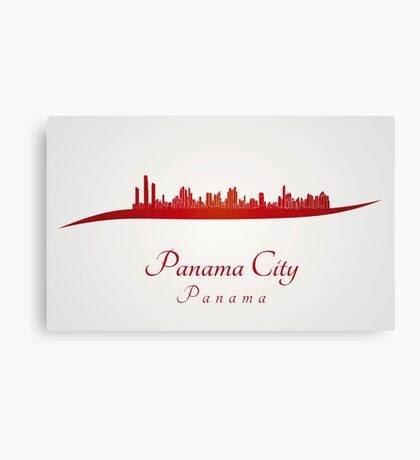 Panama City skyline in red Canvas Print