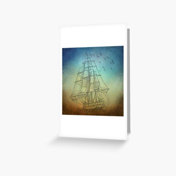 ship at sea, sailing ship Greeting Card