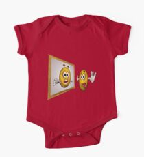 Cute Smiley Face In Mirror One Piece - Short Sleeve