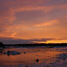 Fiery Light on an Icy Shore by Jean Knowles