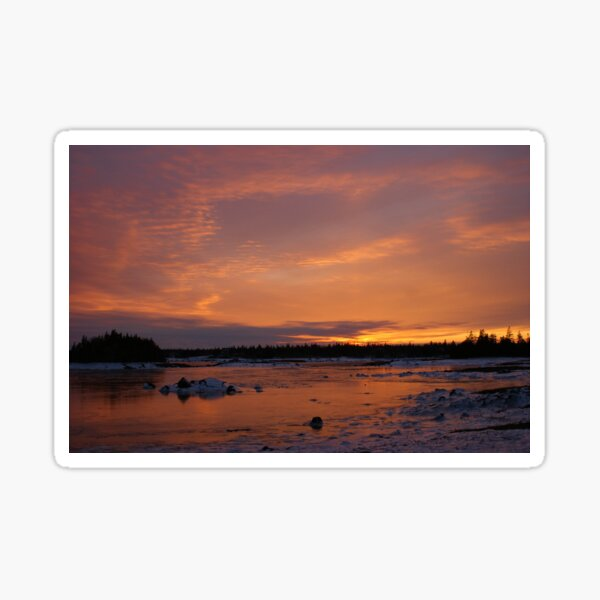 Fiery Light on an Icy Shore Sticker