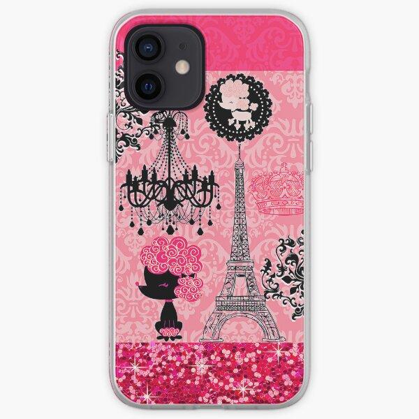French Girly Eiffel Tower, Poodle & Damask Elegant iPhone Soft Case