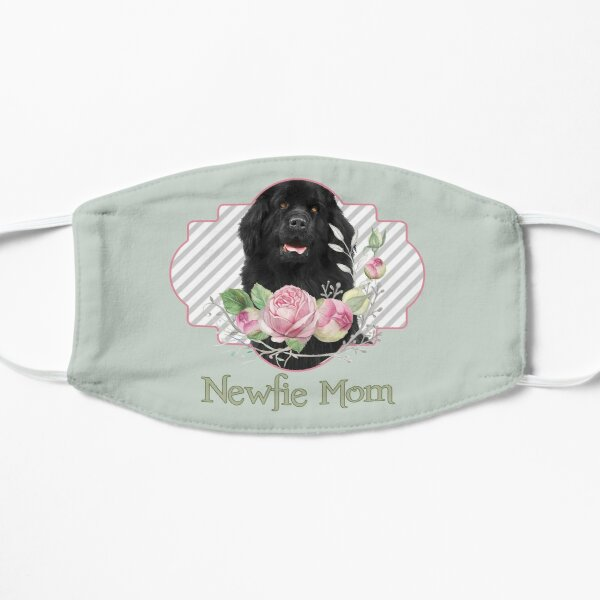 Newfie Mom with Flowers Flat Mask