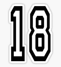 18, TEAM SPORTS, NUMBER 18, EIGHTEEN, EIGHTEENTH, ONE, EIGHT, Competition,  Sticker