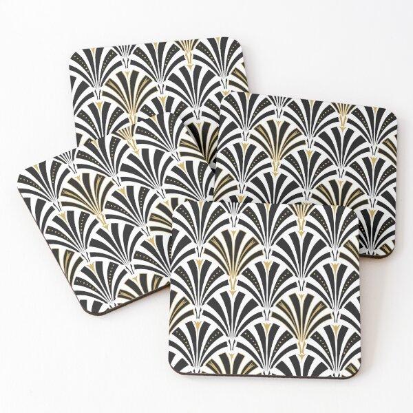 Art Deco fan pattern, black and white Coasters (Set of 4)