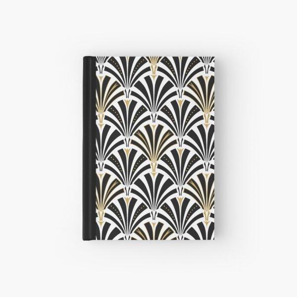 Art Deco fan pattern, black and white Hardcover Journal