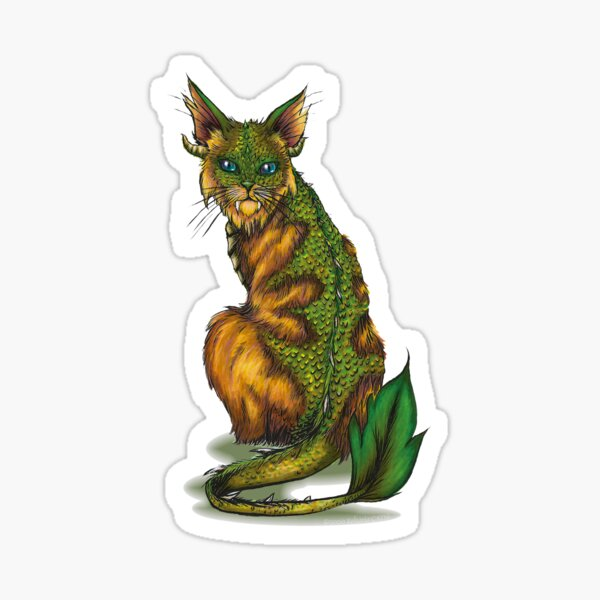 Golden Forest Cat (with white outline) Sticker