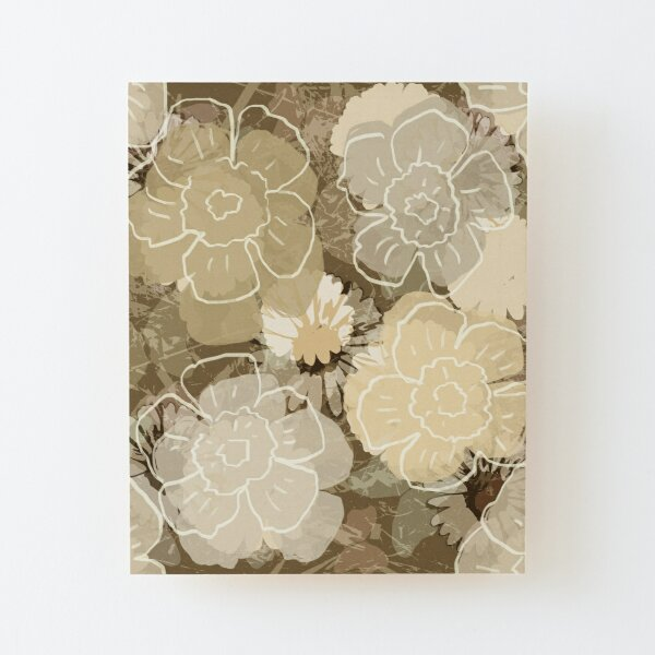 Floral Retro Cream Wood Mounted Print