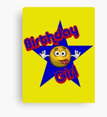 Cute Birthday Girl Smiley Face Canvas Print