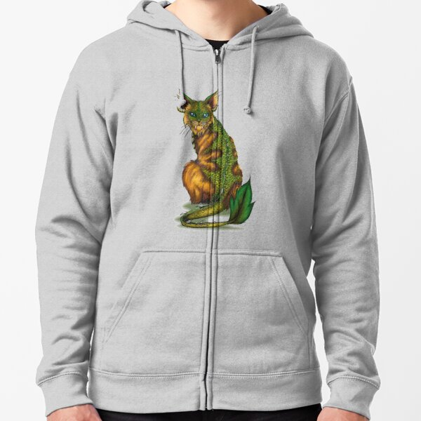 Golden Forest Cat (no outline) Zipped Hoodie