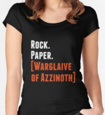 Rock. Paper. Warglaive of Azzinoth. (White) Women's Fitted Scoop T-Shirt