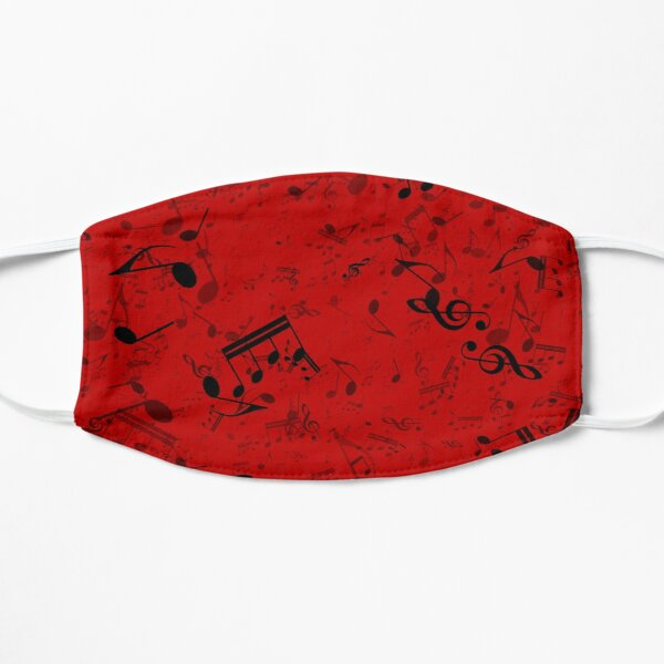 Red and Black Music Notes Pattern Mask